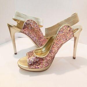Carlos Santana Glitter Sandal Heels 7.5